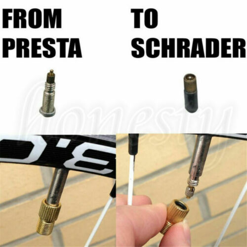 2pcs Presta to Schrader Tube Pump Tool Converter Bicycle Bike Tire Valve Adaptor