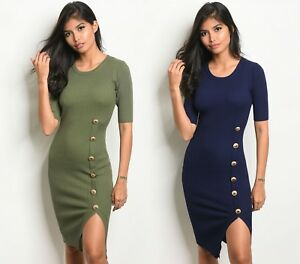 S-M-L-Women-039-s-Bodycon-Sweater-Dress-Ribbed-Knit-Pencil-Knee-Sexy-Career-Stretch