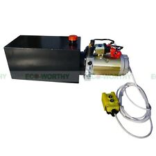 12V 10 Quart Metal Tank Hydraulic Power Pump Pack Dump Trailer Car Lifting US