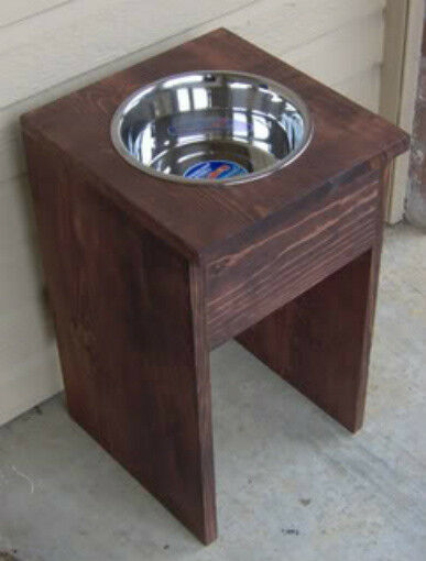 20 Wood Elevated Pet Dog Feeder Raised Inch Bowl Stainless Steel Bowls Ebay