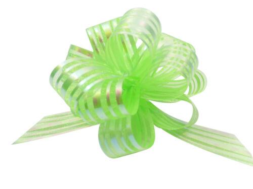 Vert pom pom bow small x 1 organza
