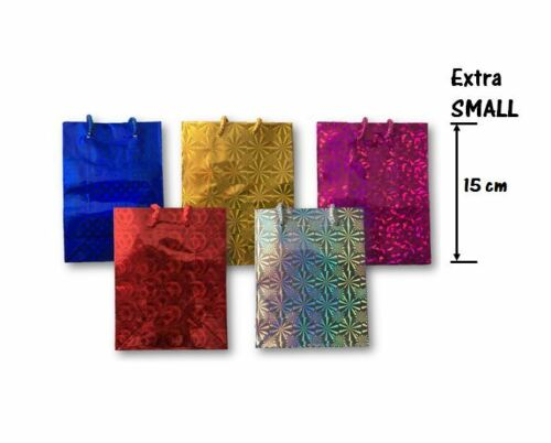 5 Mix Holographic Paper Gift Bags Shiny Glossy Colours Chirstmas Birthday Party
