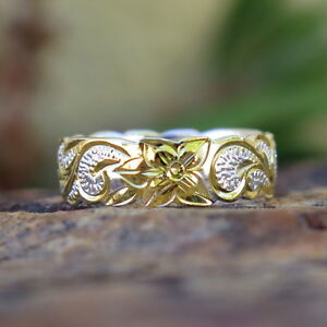 Hawaiian 925 Silver Gold Plated Scroll Flower Queen Wedding Ring