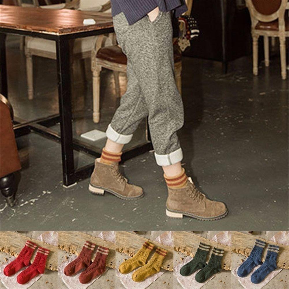 Fashion 5 Pairs Girls Womens Socks #K Lot Cotton Warm Stripe Casual Dress Socks