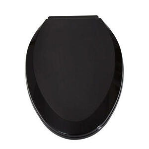 Signature hardware elongated self closing toilet seat in black ebay