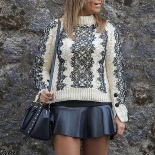Knit Maglione L Bloggers Donna Lace Ponticello Large Zara Studio Cable Maglieria qPWzA