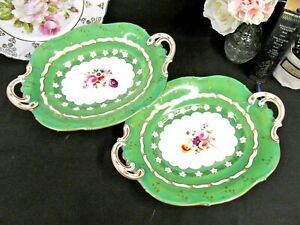 ANTIQUE-1840-039-s-Ridgway-pottery-Painted-footed-cake-plate-platter-with-handles