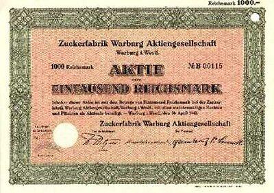 Zuckerfabrik Warburg AG alte Aktie 1942 Ostwestfalen Südzucker Zuckerindustrie