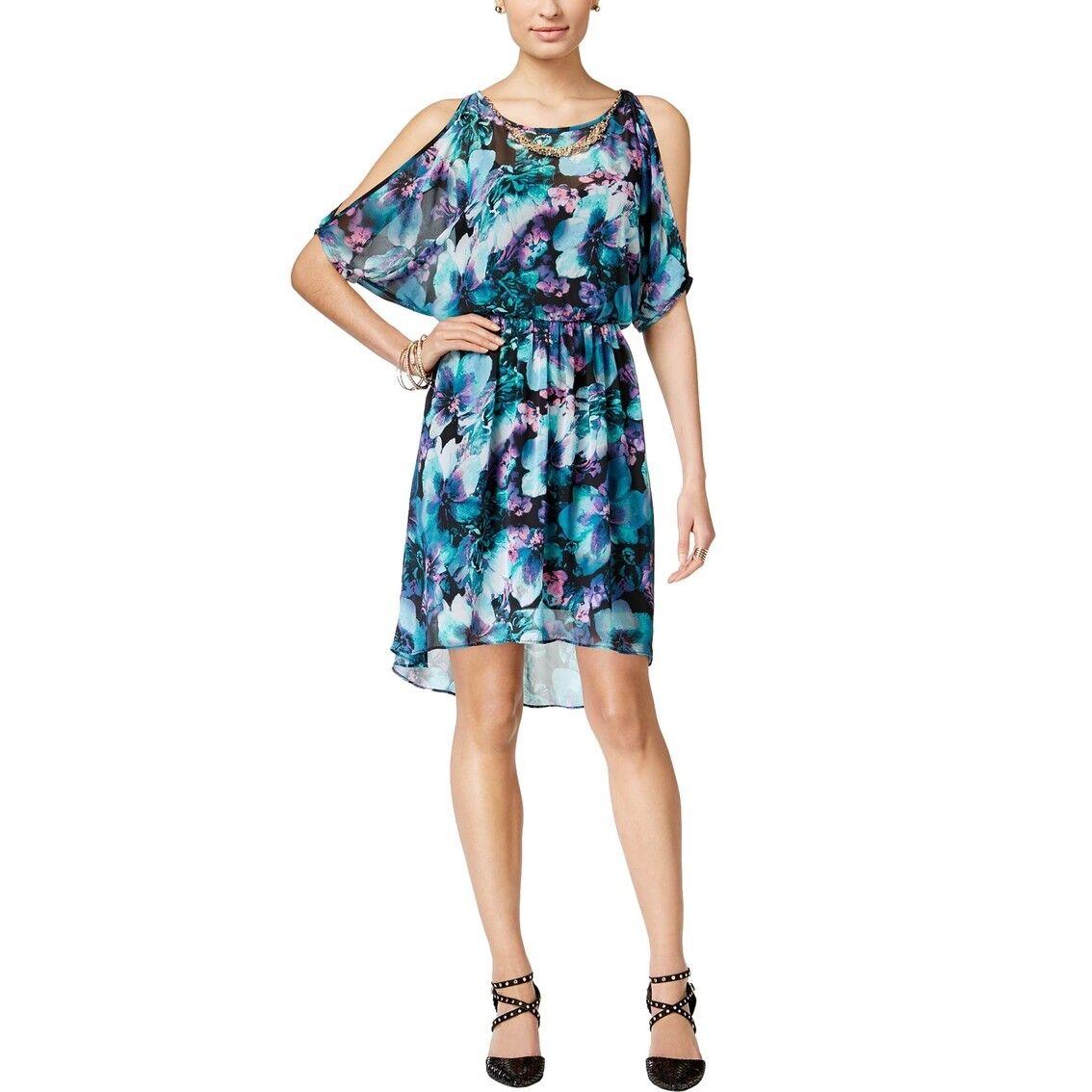 NEW  Thalia Sodi Cold Shoulder Floral Dress bluee Size L
