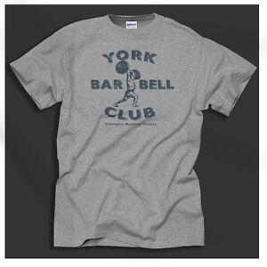York-Barbell-Club-Workout-Shirt-Vintage-Gym-Strength-Grey-T-Shirt-Big-Sizing