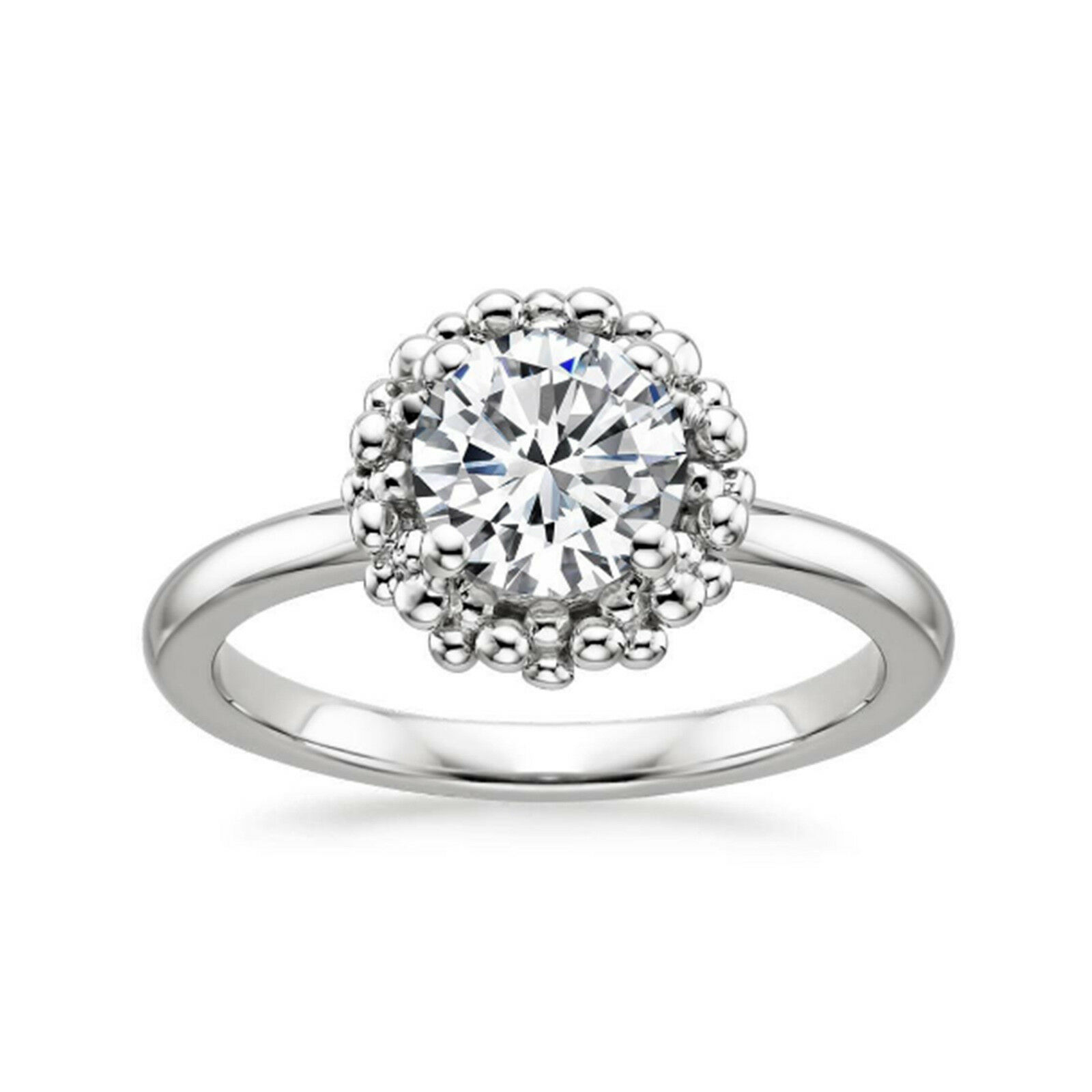 1.00 Ct Round Cut Diamond VVS1 D 14K Solid White gold Engagement Ring Size 5 6 7
