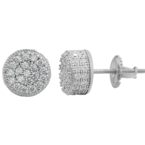 "Men Real Solid 925 Sterling Silver 1//3/"" Round Cluster Earrings Diamond Studs Ice"