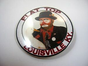 Vintage-Collectible-Pin-Button-Flat-Top-Louisville-KY-Clown-amp-Duck