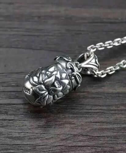 Sterling Silver Floating Mantra Lotus Prayer Box Buddhist Necklace Opens Up
