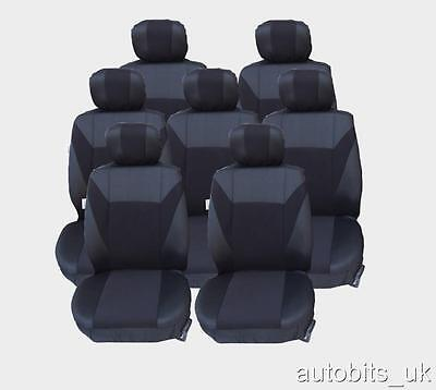 FULL SET BLACK 7X FABRIC SEAT COVERS FOR 7 SEATER CITROEN C4 GRAND PICASSO