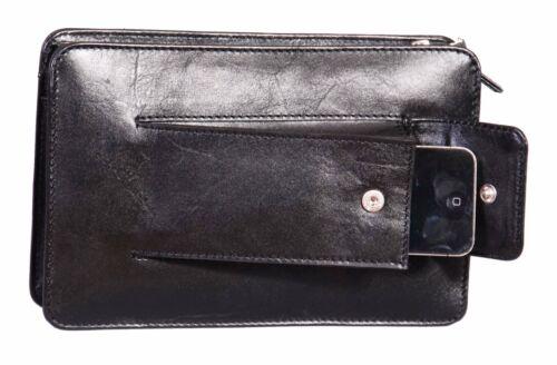Gents Bracelet Sac Cuir Fermeture Éclair Haut Embrayage Grab mobile Money Travel Noir Sac à main nouveau