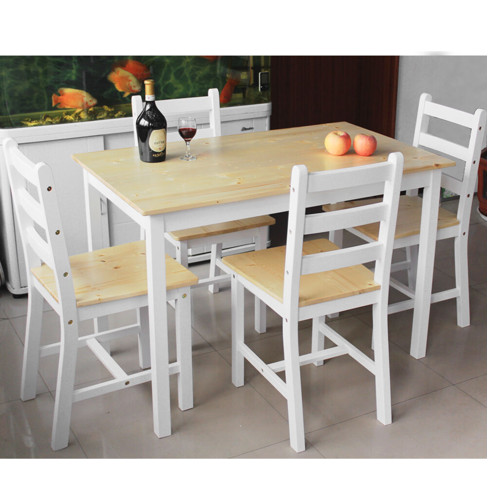 45 Wood Kitchen Tables And Chairs Sets Kitchen Chairs: Dining Table And 2 4 Chairs Set Wooden Contemporary Bistro