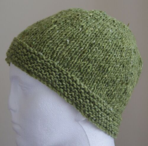 Beanie short Rib  Hat Hand Knit  in Ireland  100/% Aran  Donegal Tweed wool