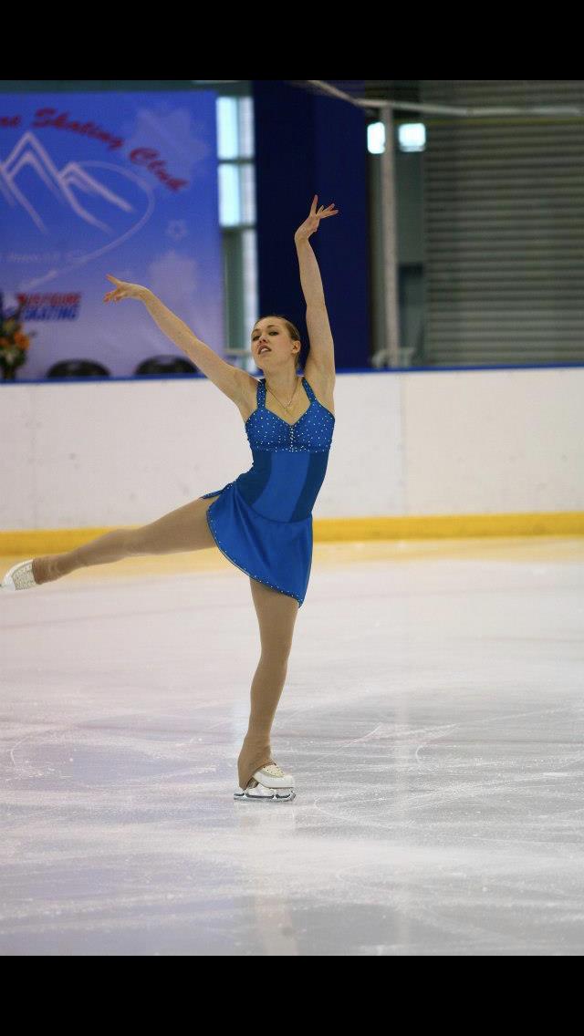 Two-Toned Deep Aqua Competition Figure Skating Kleid