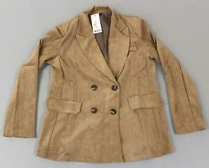 Boohoo-Women-039-s-Baby-Corduroy-Double-Breasted-Blazer-Jacket-MC7-Tobacco-Large-NWT
