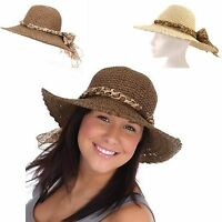 Ladies Girls Wide Brim Summer Sun Hat Packable & Crushable with Scarf Trim