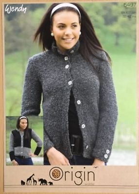 """Wendy Knitting Pattern 5485 Cabled Cape Jacket 32-42/"""" Super Chunky Ladies NEW"""