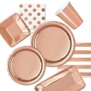 Image Is Loading Rose Gold Birthday Party Tableware Plates Napkins Cups