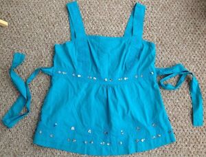 John-Rocha-Blue-Turquoise-Summer-Strappy-Top-Cotton-Sequins-Tie-Waist-Size-18