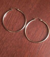 "14K YELLOW GOLD 1.6"" INCH POLISHED PLAIN ROUND HOOPS  HOLLOW HOOP EARRINGS  2mm"
