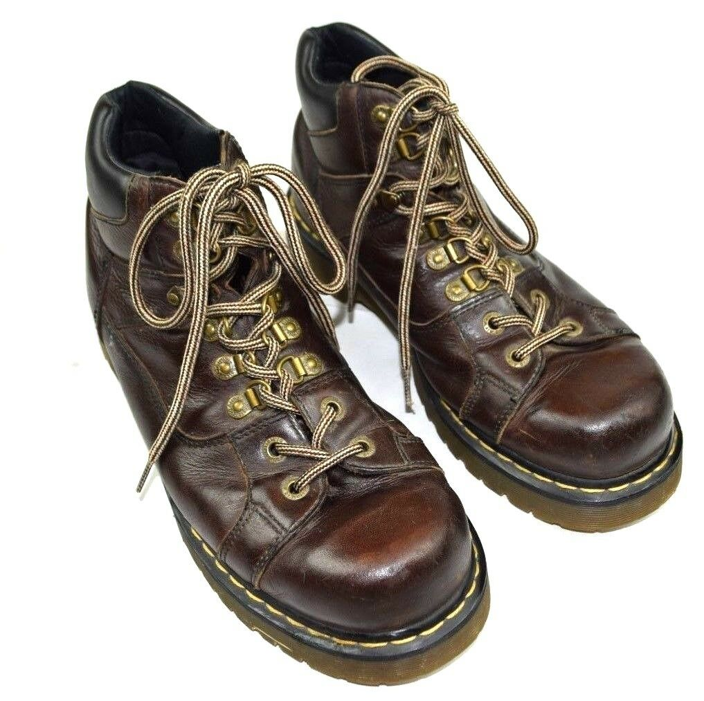 DR. MARTENS 11302 Lace Up Soft Toe Leather Ankle Boots Brown Men's 12 M  Euro 46
