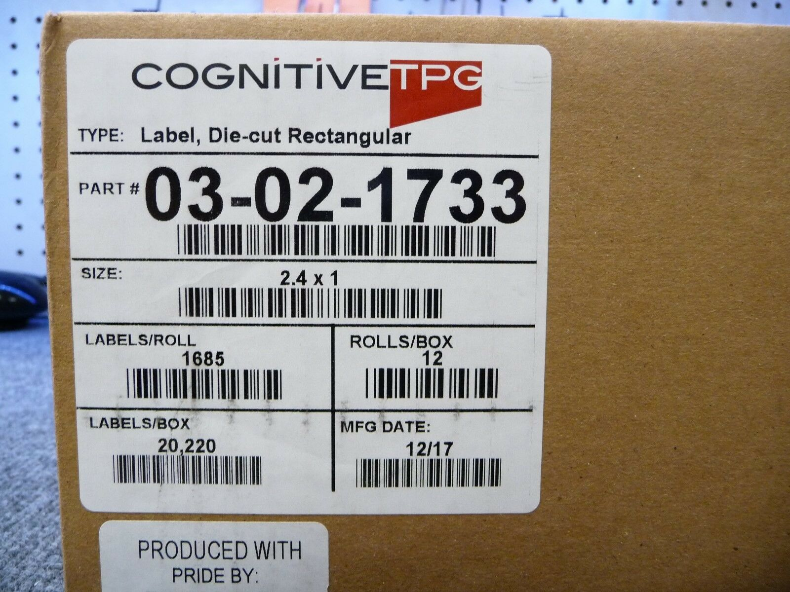 Cognitive TPG 03-02-1733 Thermal Transfer Vinyl Labels - 2.40  Width x 1  Length