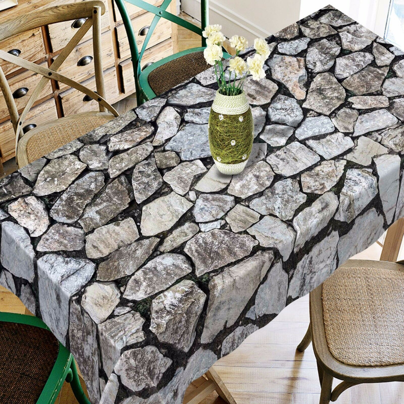 3D Stones Wall 97 Tablecloth Table Cover Cloth Birthday Party Event AJ WALLPAPER
