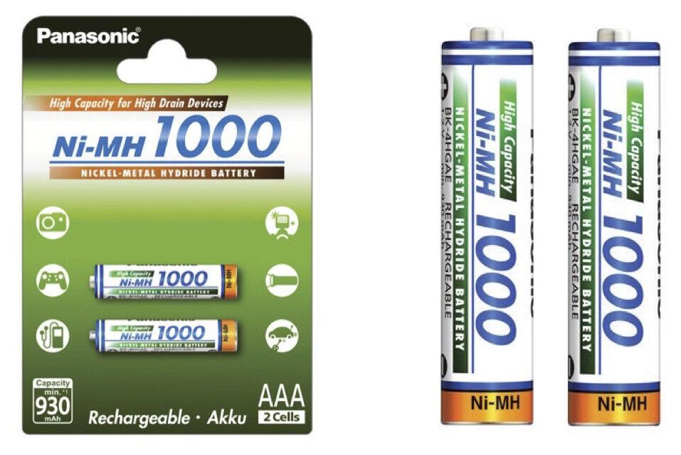 Panasonic High Capacity AAA Micro Akkus Accus R3 Ni-Mh 1000 mAh BK-4HGAE