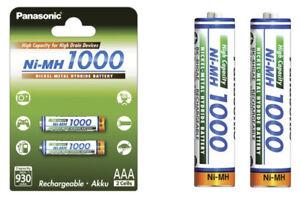 Panasonic High Capacity AAA Micro Akkus Accus R3 Ni-Mh 1000mAh schnellladefähig