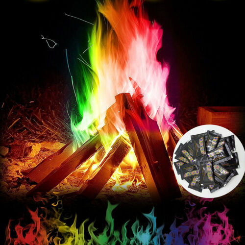 FIRE POWDER TRICK COLOURED RAINBOW FLAMES BONFIRE FIREPLACE PIT PATIO TOYS ORNAT