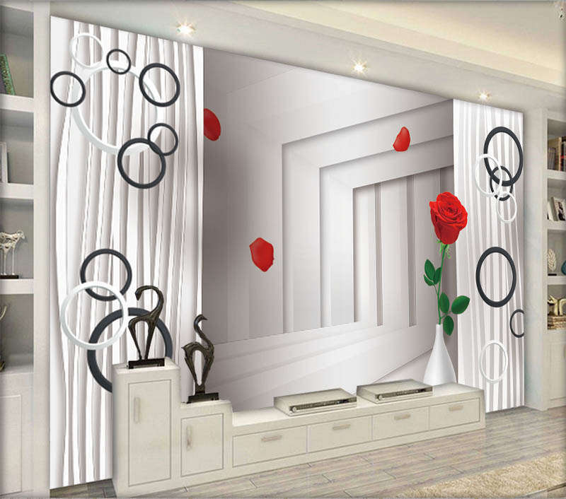 Elegant Intact Rose 3D Full Wall Mural Photo Wallpaper Printing Home Kids Decor