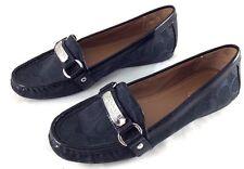 COACH Felisha Loafers Women's 6 M Black Signature Canvas & Leather Moccasin Shoe