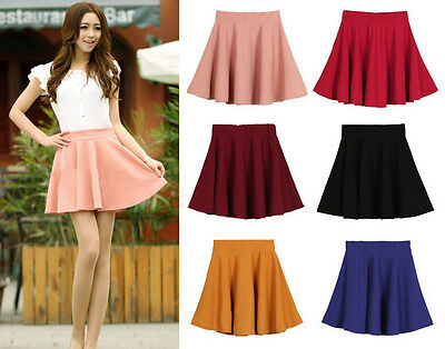 Fashion Lady Summer Stretch Waist Pleated Jersey Plain Skater Flared Mini Skirts