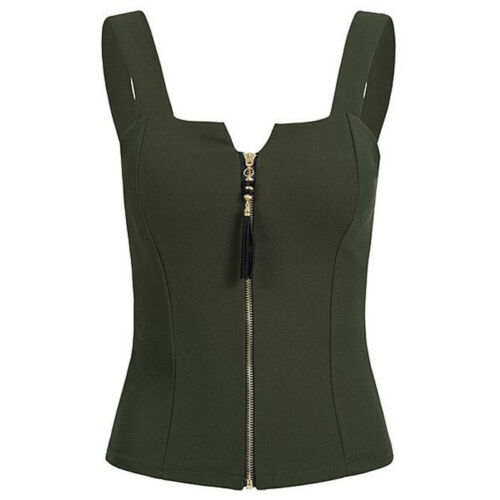 Plus Size Womens Zip Up Stretch Cami Vest Ladies Sleeveless Crop Tops Blouse Tee