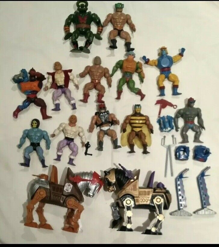 Vintage He-Man masters universe figures lot weapons Motu