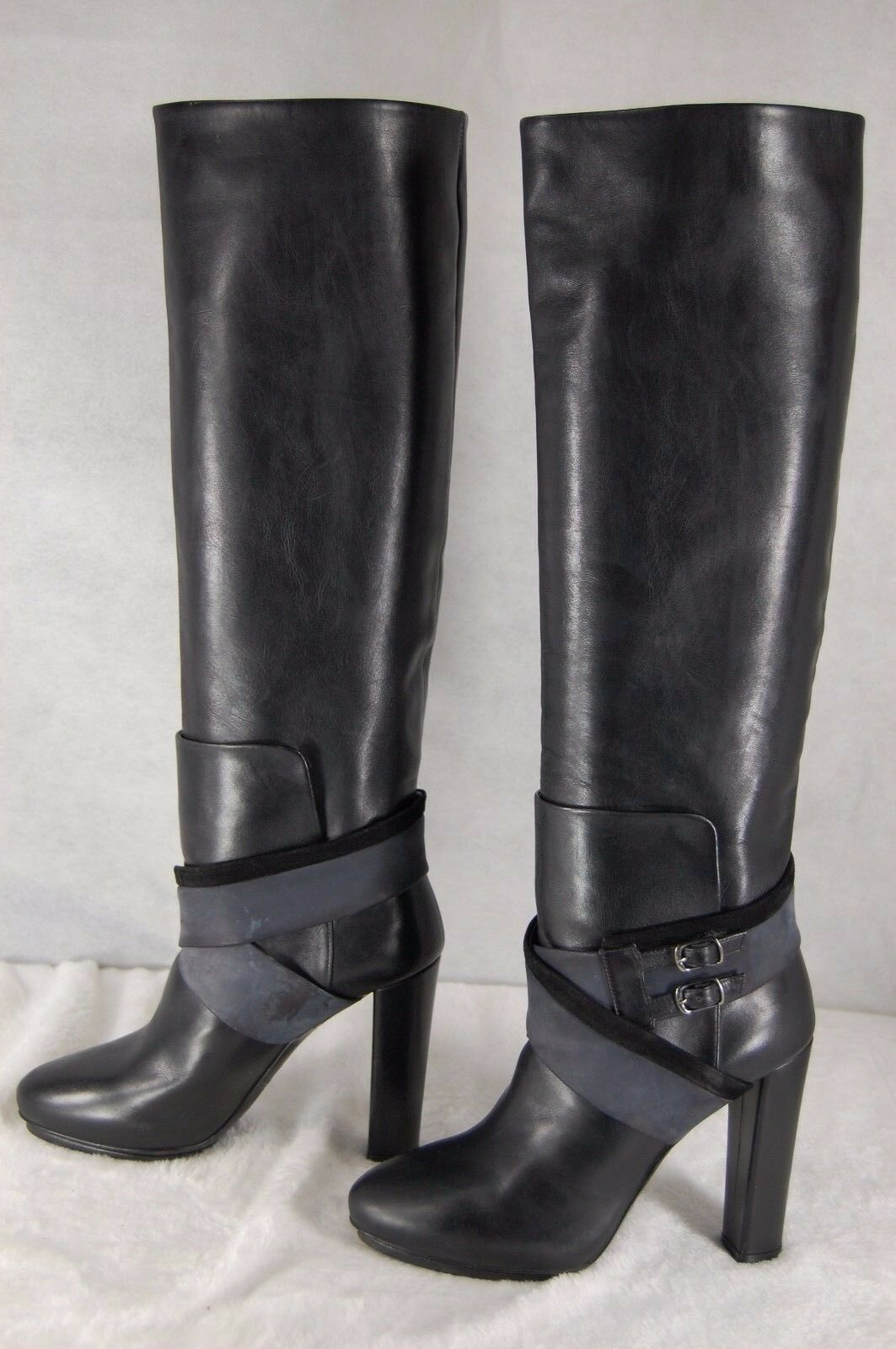 BALENCIAGA  BLACK LEATHER RIDING BIKER HIGH HEEL  BOOTS EU 35.5 US 5.5