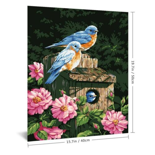 Paint by Numbers DIY Bird Flowers Canvas Oil Painting Kit Wall Decor 16x20