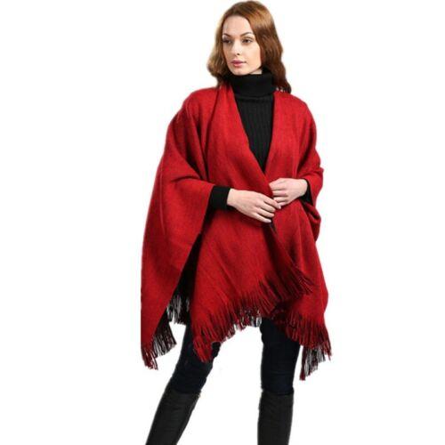 Women Ladies Side Split Tassel Shawl//Cape////Poncho//Scarf//Wrap Winter