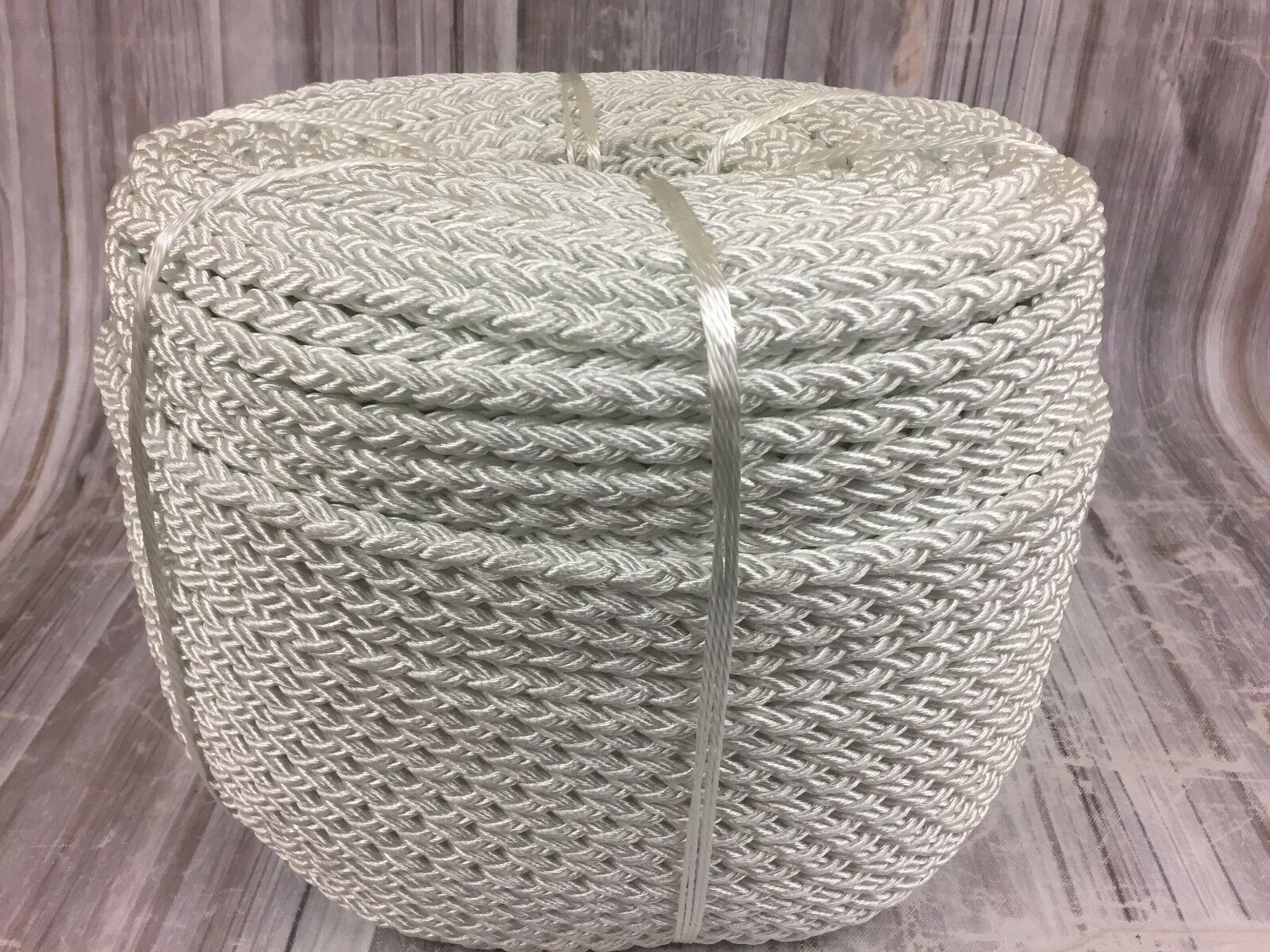 10mm 8 Strand White Nylon Rope x 50mts, Anchor Mooring Rope Multiplait Octoplait