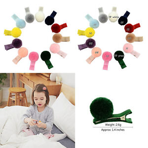 10pcs  Infant Baby Girls Soft Plush Ball Hair Clip Hairpin Lovely Barrettes ^G