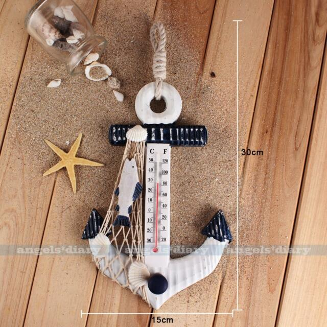 Nautical Decor Wall Hanging Wooden Anchor Shape Thermometer Hook Fish Net Shell