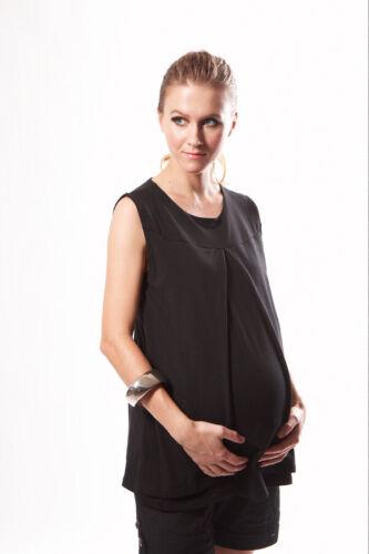 New Maternity Nursing Breastfeeding Purple Black Tunic Long Top Size S M L