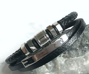 Leder Armband Edelstahl Herren Schwarz Silber Wikinger Biker Armkette Magnet