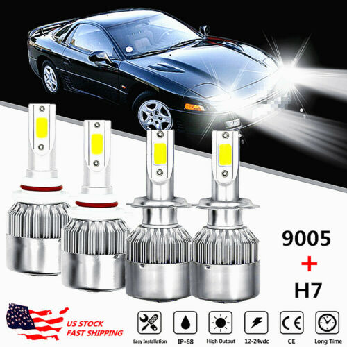 For Toyota Celica 2001-2002 9005+H7 Headlight LED 4x Bulbs Combo Conversion Kit