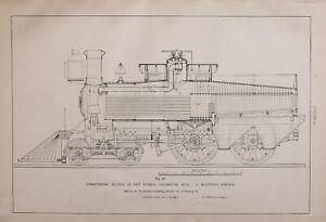 1886-RAILWAY-LOCOMOTIVE-PRINT-FAST-EXPRESS-ENGINE-J-WOOTTEN-039-S-FIREBOX-SECTION